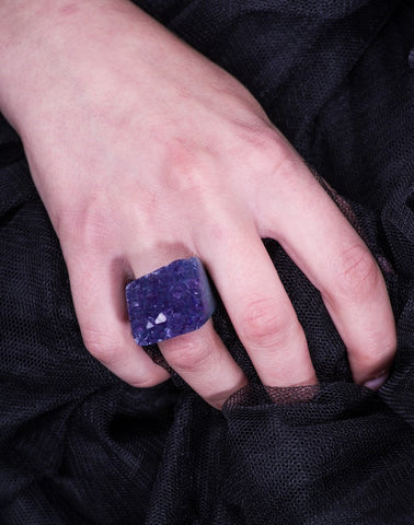 Handmade hot pink Agate Druzy semi-precious gemstone ring
