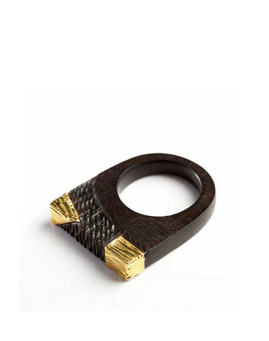 African Kufuli handmade wood ring accented with yellow 24k gold