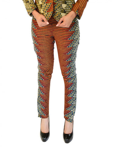 Zig zag patterned Java print pants