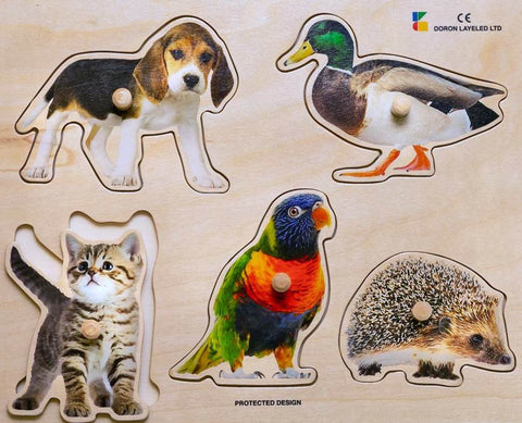Doron Layeled Favourite Animals Large Peg Puzzle