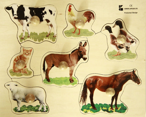 Doron Layeled Farm Animals Large Peg Puzzle