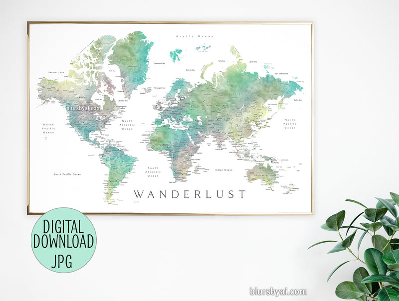 "36x24"" 60x40"" Printable world map with cities, ""Oriole"", Wanderlust - For personal use only"