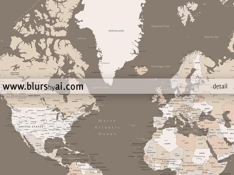 "Our Adventures, printable world map with cities labelled, large 60x40"" - For personal use only"