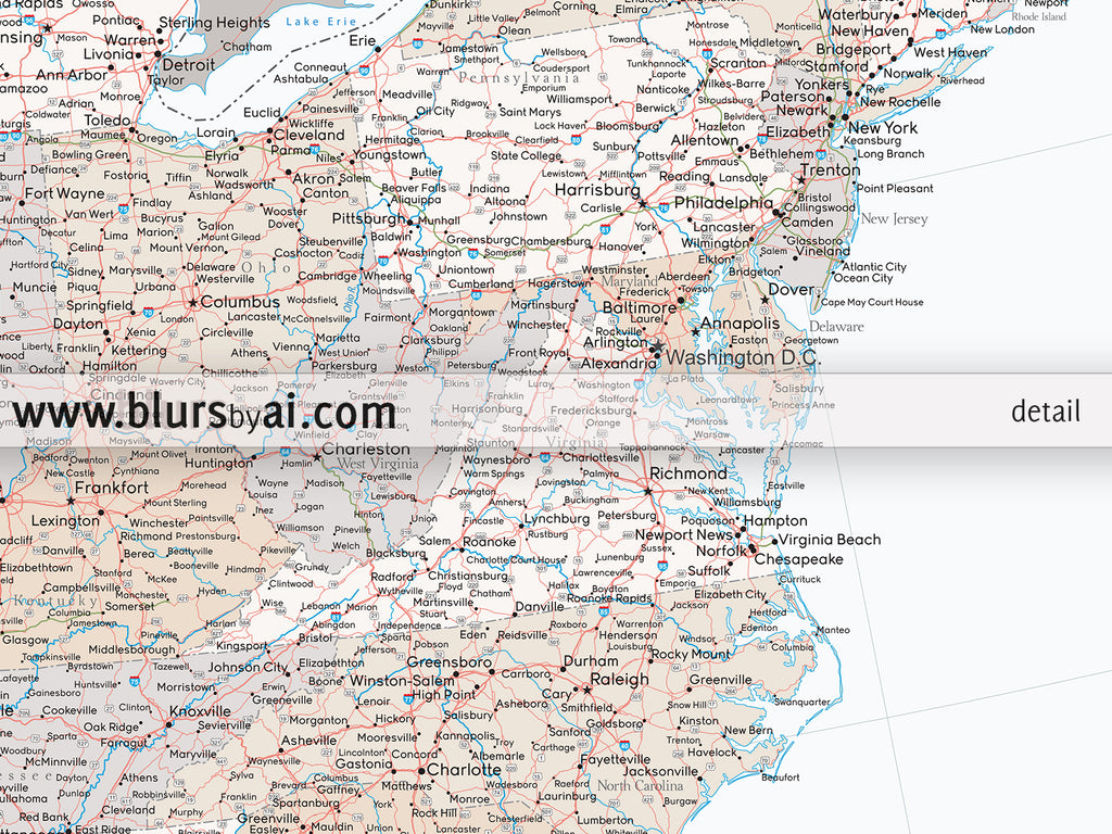Our adventures large and detailed USA map print Lincoln blursbyai
