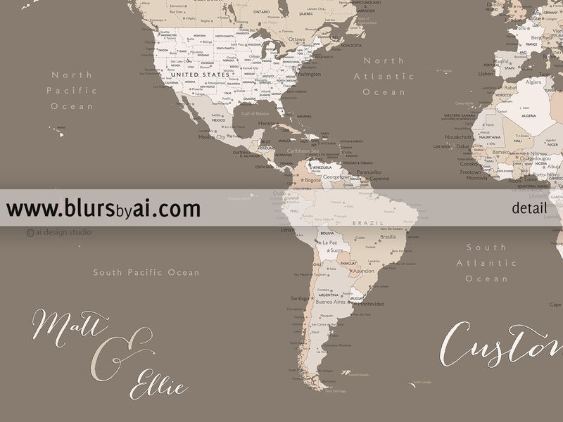 "Custom print: world map with cities in brown and cream. ""Earth tones"""