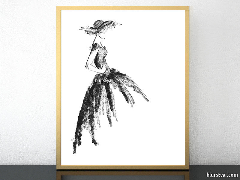 Printable fashion sketch of a vintage style dress in black and white