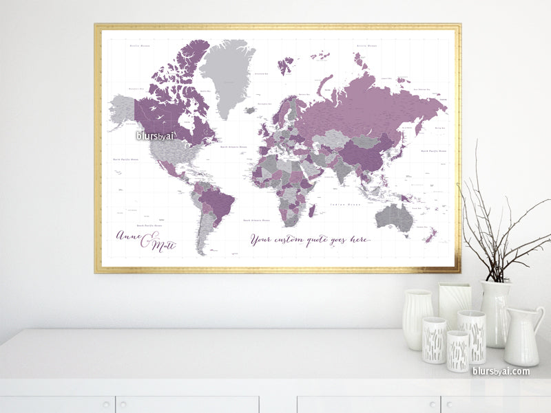 "Custom world map print - highly detailed map with cities in purple and gray. ""Aubergine"""