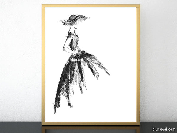 picture about Printable Fashion named Printable model sketch of a traditional layout gown in just black and white