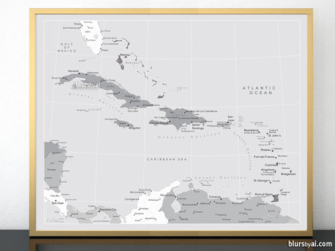Printable map of the Caribbean Islands, with capitals and cities, grayscale 20x16""