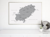 Large printable map of Ibiza (Spain) in grayscale, 36x24""