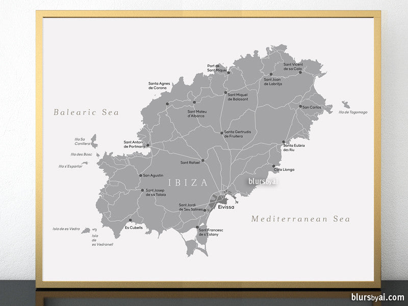 "Printable map of Ibiza (Spain) in grayscale, 20x16"" & 10x8"" - For personal use only"