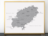 "Printable map of Ibiza (Spain) in grayscale, 20x16"" & 10x8"""