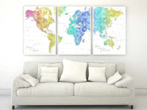 "Multi panel, custom highly detailed world map print - Colorful watercolor world map with cities. ""Maxwell"""