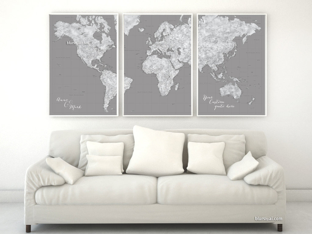 "Multi panel, custom highly detailed world map print - Grunge grayscale world map with cities. ""Valentina"""