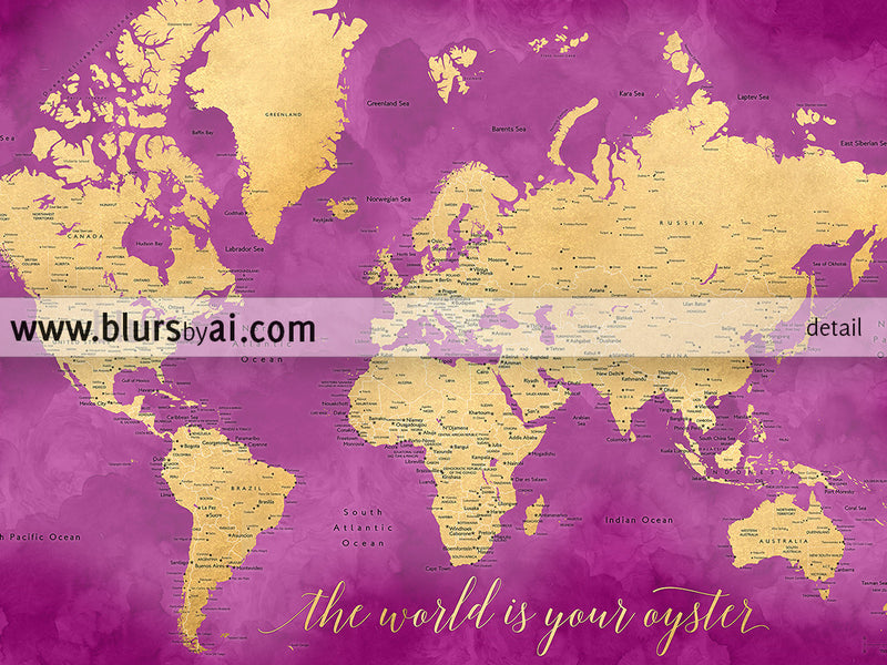 "Printable hot pink and gold world map with cities, 36x24"", the world is your oyster - For personal use only"