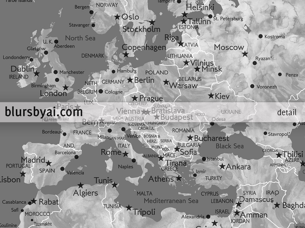 Custom quote printable gray world map with cities capitals custom quote printable gray world map with cities capitals countries us states gumiabroncs Gallery
