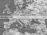 "Custom quote printable gray world map with cities, capitals, countries, US States... labeled. Color combination: ""Asher"""