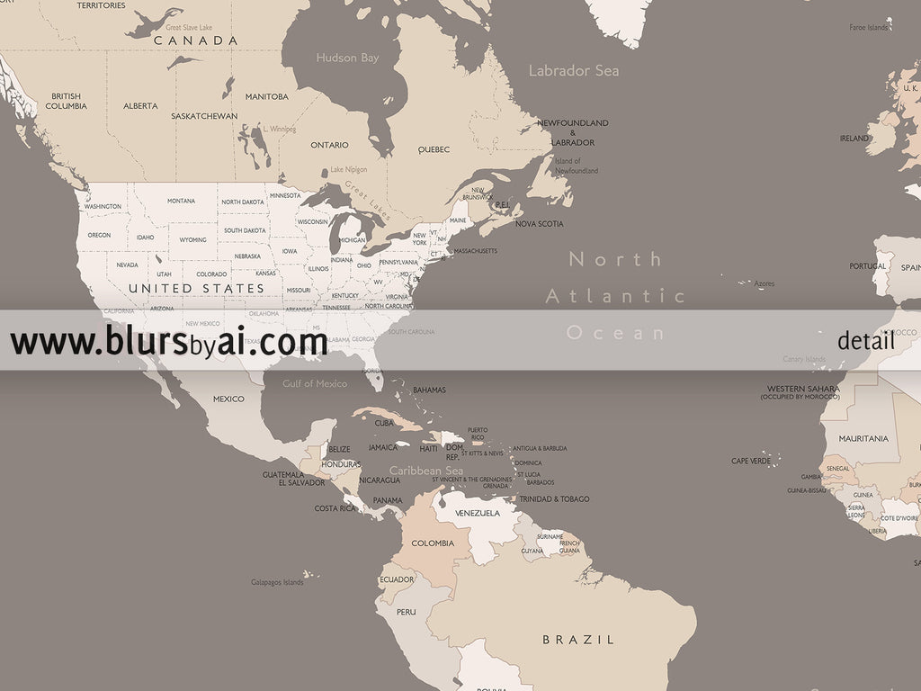 Personalized world map printable art map with countries US states