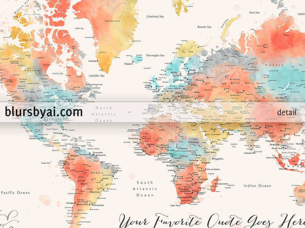 "Personalized PRINTABLE world map with cities, ""Fifi"", edit-it-yourself using CORJL - Instant download for PERSONAL USE"