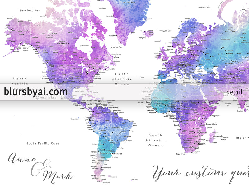 "Custom world map with cities, canvas print or push pin map in bright purple and blue. ""Violetta"""