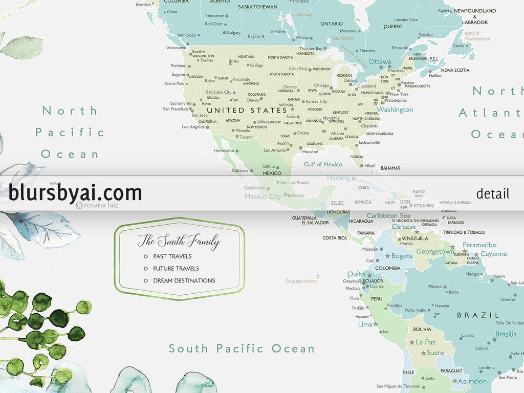 Custom world map with cities, canvas print or push pin map, floral and greenery watercolor
