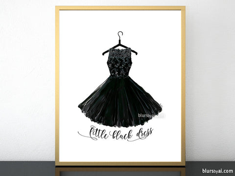 Little black dress, printable fashion illustration