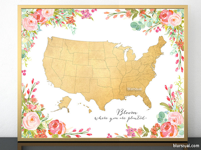 Colorful floral gold foil USA map printable art bloom where you