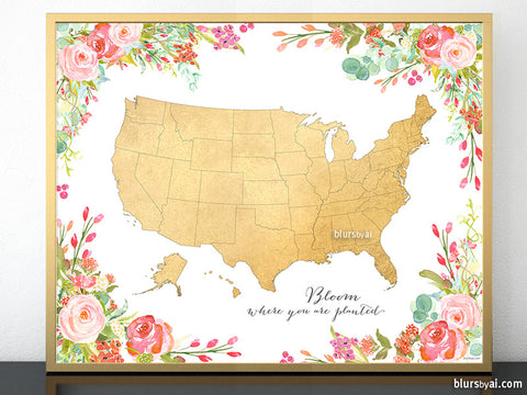 Colorful floral gold foil USA map printable art, bloom where you are planted