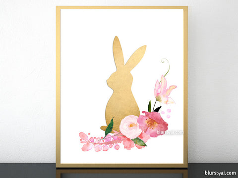 Floral bunny in faux gold foil effect, printable easter decoration