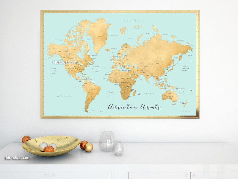 "Printable world map with countries and states labelled, aquamarine and gold foil effect, Adventure Awaits, large 60x40"" - For personal use only"