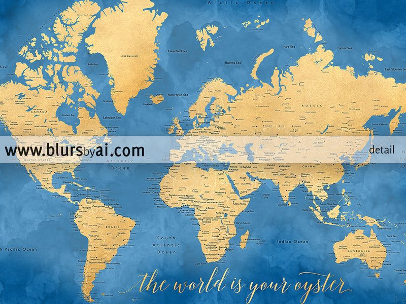 "Printable cobalt blue and gold world map with cities, 36x24"", the world is your oyster - For personal use only"