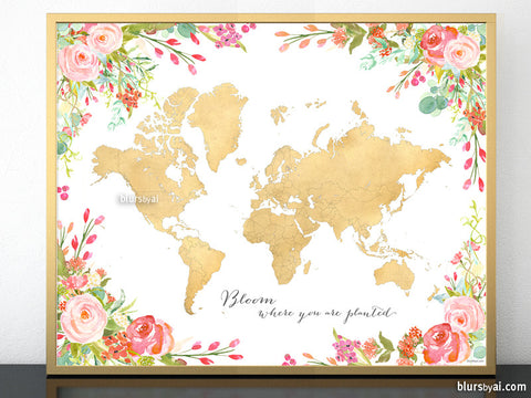 Maps: Printable gold foil world maps and USA maps