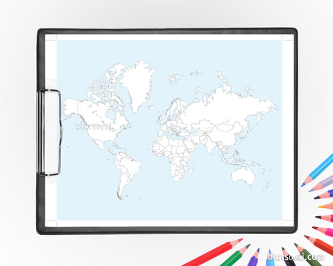 Coloring world map printable, adult coloring pages featuring the world map with and without countries