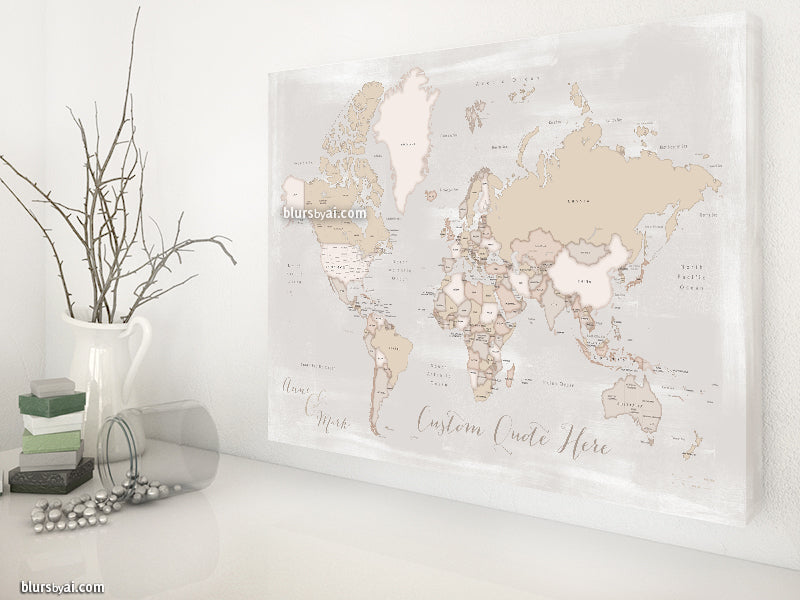 Personalized world map with countries states canvas print or push personalized world map with countries states canvas print or push pin map gumiabroncs Images
