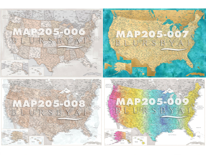Custom US map rolled canvas print. ALL COLOR CHOICES.