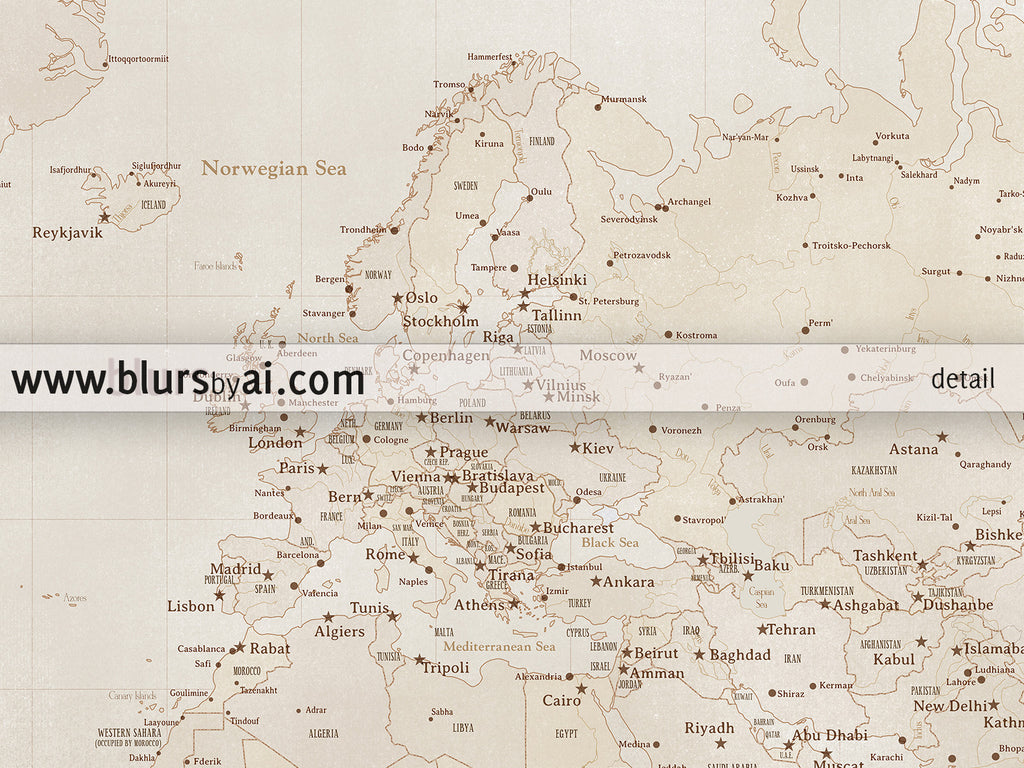 Printable vintage style world map with cities 36x24 blursbyai printable vintage style world map with cities 36x24 gumiabroncs Gallery