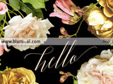 Hello, inspirational printable home decor featuring dark florals