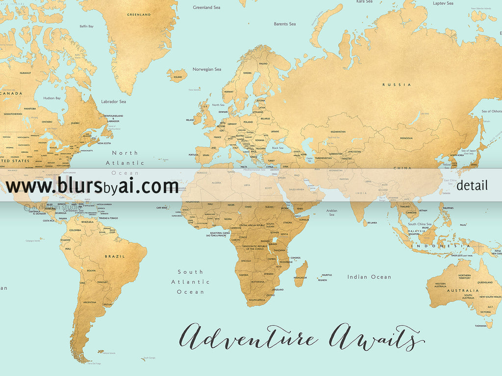 Printable world map with countries and states labelled aquamarine