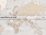 Custom quote printable world map with cities in rustic style. Color combination: Lucille