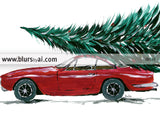Printable holiday decor: red car carrying a Christmas tree