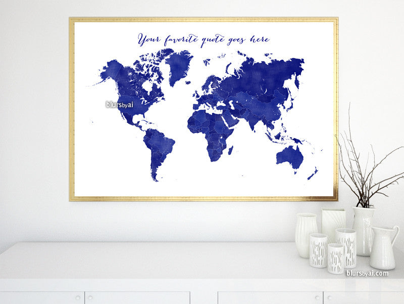 Custom quote - printable world map with countries in true navy blue and distressed texture. Color combo: Navio