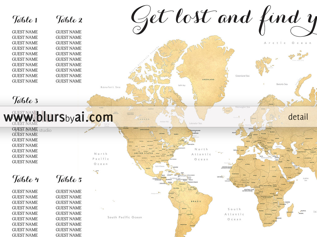 Travel themed wedding printable seating chart with map blursbyai custom printable wedding seating chart featuring the world map in gold foil gumiabroncs Choice Image