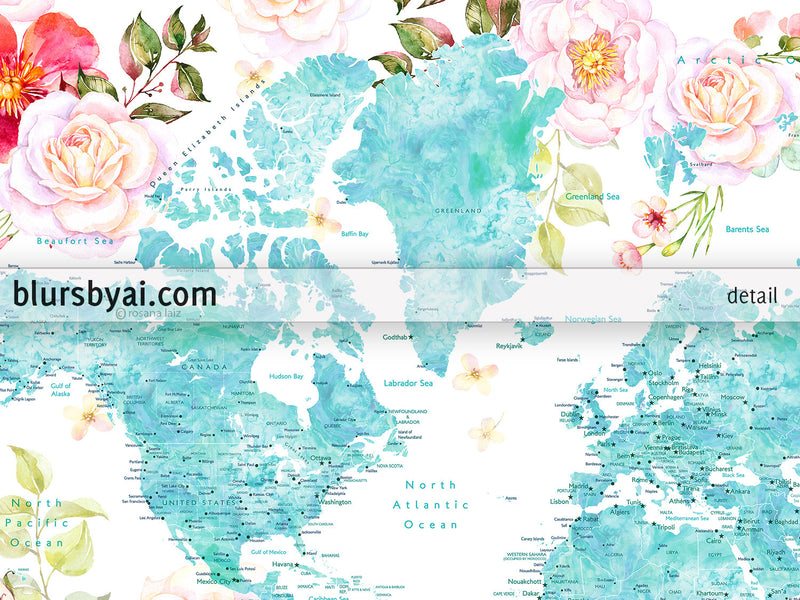 Floral world map printable with aquamarine land masses, countries, states and cities - For personal use only