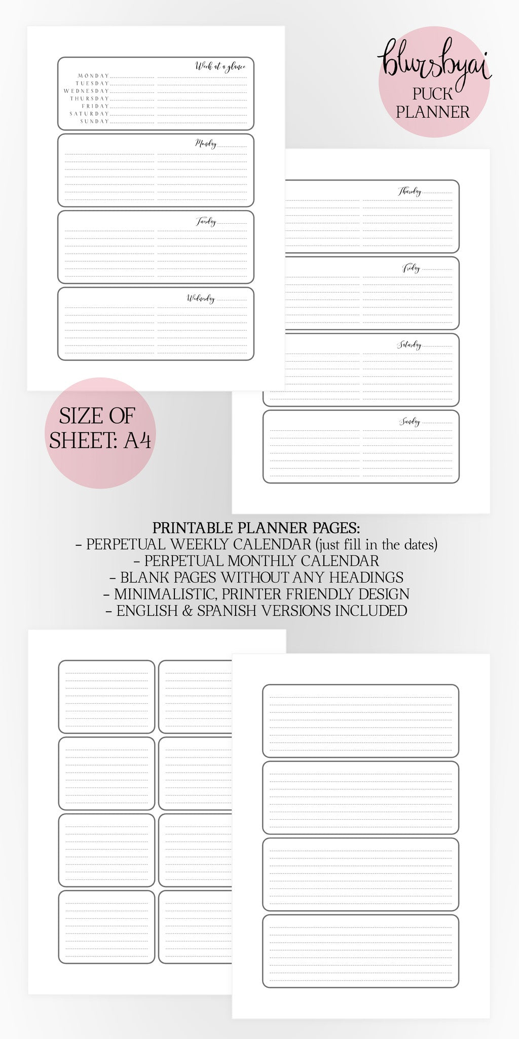 A4 printable planner set: the Puck Planner. Black and white. Spanish and English planner.