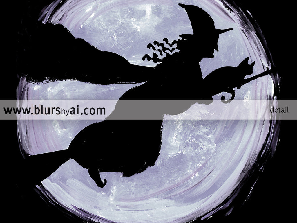 Witch and her cat, printable Halloween decor - Personal use