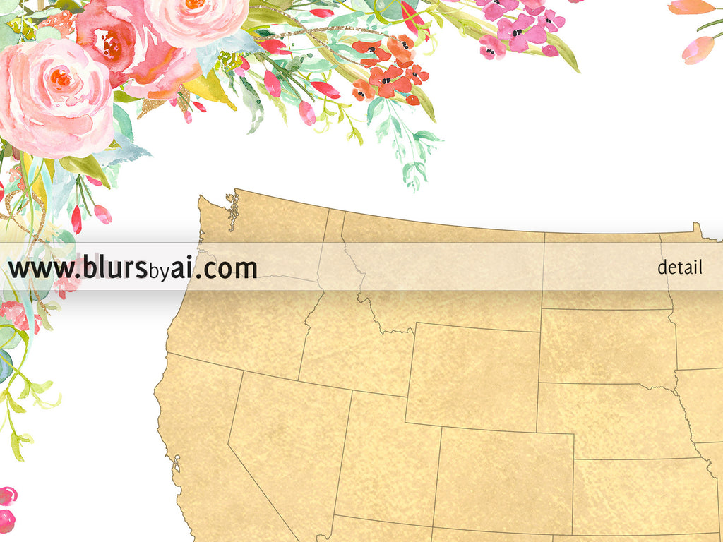 Colorful floral gold foil USA map printable art, Home is where mom is - For personal use only