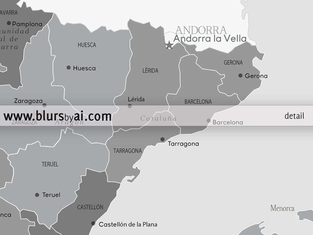 Printable Map Of Spain.Printable Map Of Spain With Cities And Provinces In Light Grayscale