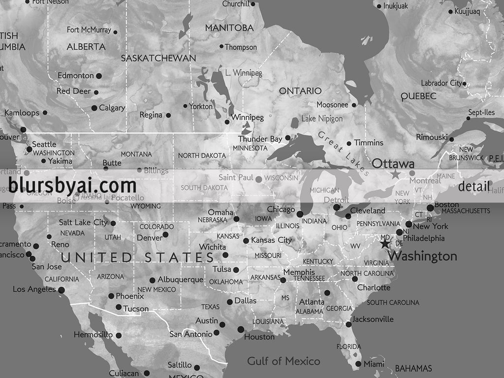Personalized world map with cities canvas print or push pin map in personalized world map with cities canvas print or push pin map in gray gumiabroncs Image collections