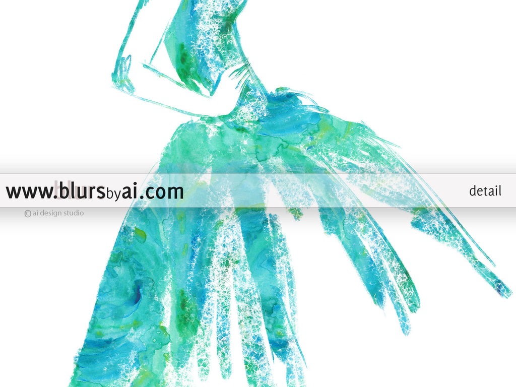 Printable fashion sketch of a vintage style dress in aquamarine watercolor