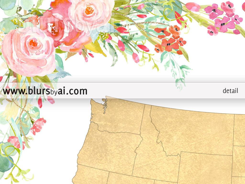 Colorful floral gold foil USA map printable art, bloom where you are planted - For personal use only